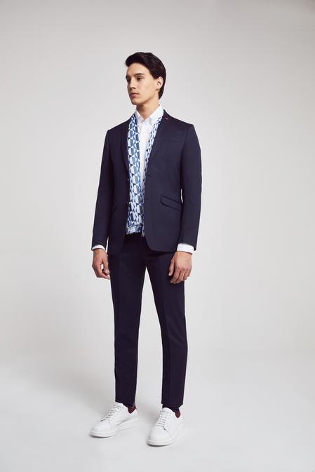 Twn Slim Fit Lacivert Armürlü Takım Elbise - 8682060534897 | D'S Damat