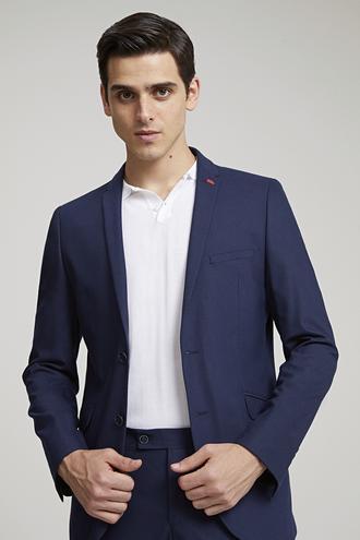Twn Slim Fit Slim Fit Lacivert Armürlü Takım Elbise - 8681779860372 | D'S Damat