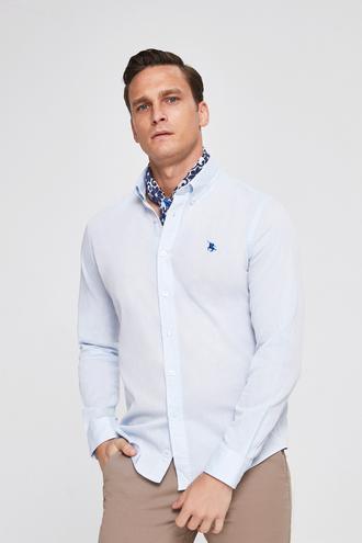 Ds Damat Slim Fit Mavi Armürlü Gömlek - 8682060144348 | D'S Damat