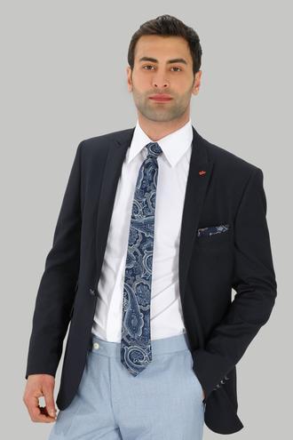 Twn Slim Fit Lacivert Armürlü Kumaş Ceket - 8682060496553 | D'S Damat