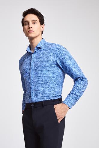Twn Slim Fit Mavi Baskılı Gofre Gömlek - 8682060913593 | D'S Damat