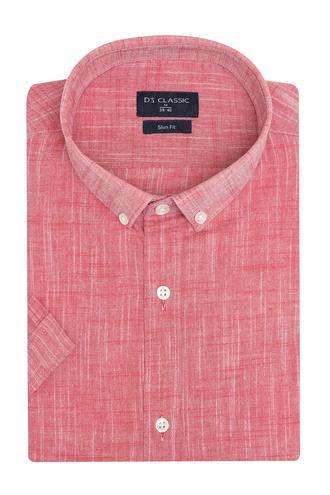 Ds Damat Slim Fit Kırmızı Armürlü Gömlek - 8682060805492 | D'S Damat