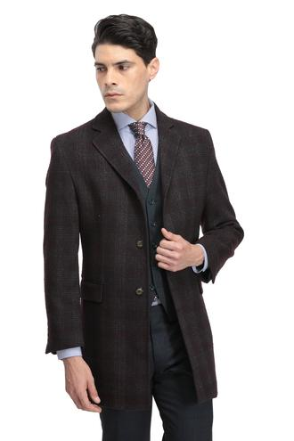 Twn Slim Fit Bordo Palto - 8681779478232 | D'S Damat