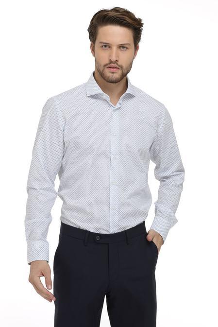 Ds Damat Slim Fit Beyaz Baskılı Gömlek - 8681779624288   D'S Damat