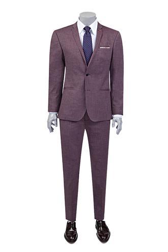 Twn Süper Slim Fit Slim Fit Bordo Armürlü Takım Elbise - 8681778939543 | D'S Damat