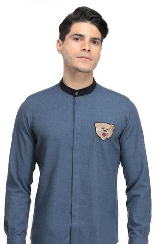Twn Slim Fit Mavi Armürlü Gömlek - 8682060014542 | D'S Damat