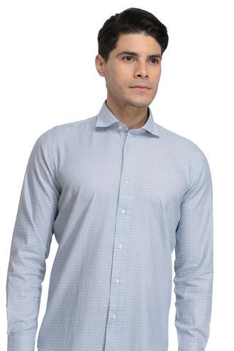 Ds Damat Slim Fit Mavi Baskılı Gömlek - 8681779489429 | D'S Damat