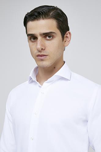Ds Damat Slim Fit Beyaz Armürlü Gömlek - 8682060787187   D'S Damat