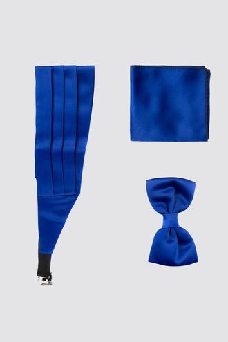 Ds Damat Saks Mavi Düz Kusak-papyon-mendil Set - 8682060244451 | D'S Damat