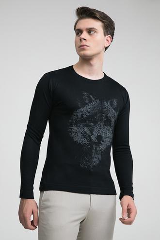 Twn Slim Fit Siyah Baskılı Kazak - 8681779281450   D'S Damat
