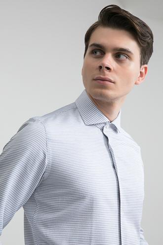 Ds Damat Slim Fit Beyaz Armürlü Gömlek - 8681779963998   D'S Damat