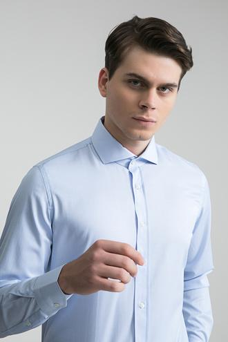 Ds Damat Slim Fit Mavi Çizgili Gömlek - 8681779512349 | D'S Damat