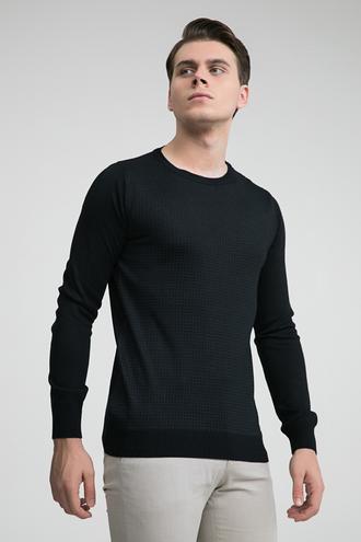 Ds Damat Regular Fit Siyah Baskılı Kazak - 8681779607892 | D'S Damat
