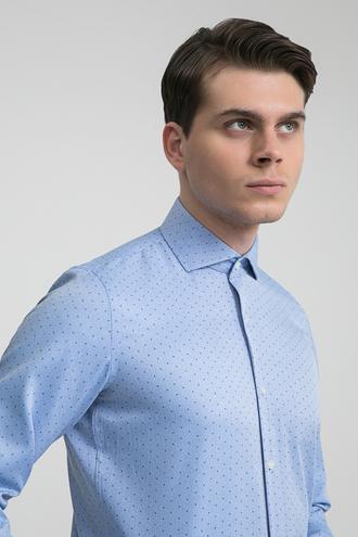 Ds Damat Slim Fit Mavi Baskılı Gömlek - 8681779510154 | D'S Damat