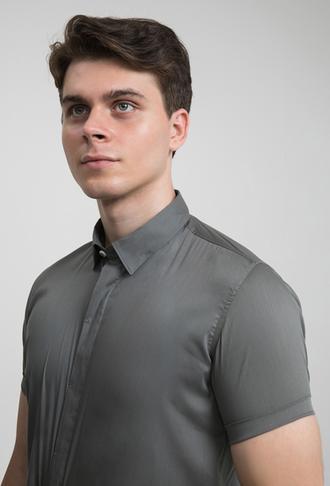 Tween Slim Fit Gri Düz Gömlek - 8681649870319 | Damat Tween