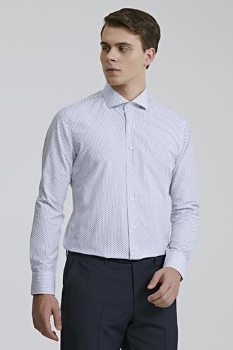 Ds Damat Slim Fit Beyaz Desenli Gömlek - 8682060894526 | D'S Damat