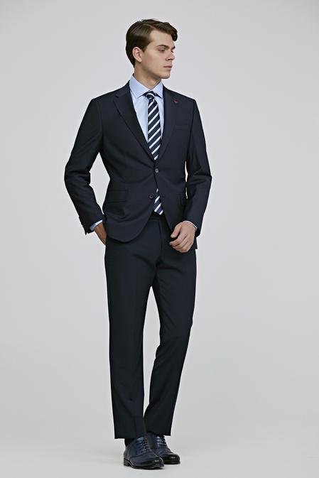Ds Damat Slim Fit Lacivert Düz Takım Elbise - 8682060402905 | D'S Damat