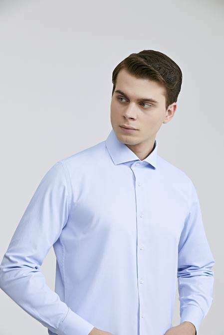 Ds Damat Slim Fit Mavi Çizgili Gömlek - 8682060788016   D'S Damat