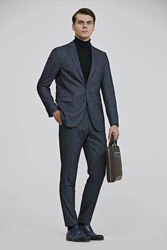 Twn Slim Fit Lacivert Armürlü Takım Elbise - 8682060666390 | D'S Damat