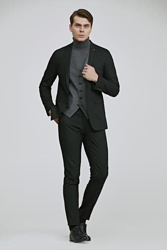 Twn Slim Fit Siyah Armürlü Kombinli Takım Elbise - 8682060704740 | D'S Damat