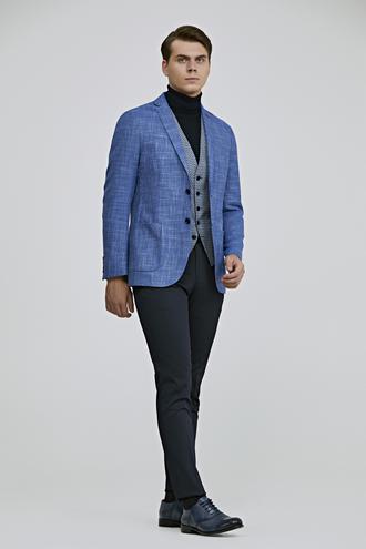 Twn Slim Fit Mavi Armürlü Kombinli Takım Elbise - 8682445019582 | D'S Damat