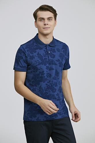 Twn Slim Fit İndigo Baskılı T-shirt - 8682060698858 | D'S Damat