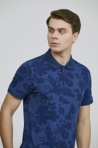 Twn Slim Fit İndigo Baskılı T-shirt - 8682060698858   D'S Damat