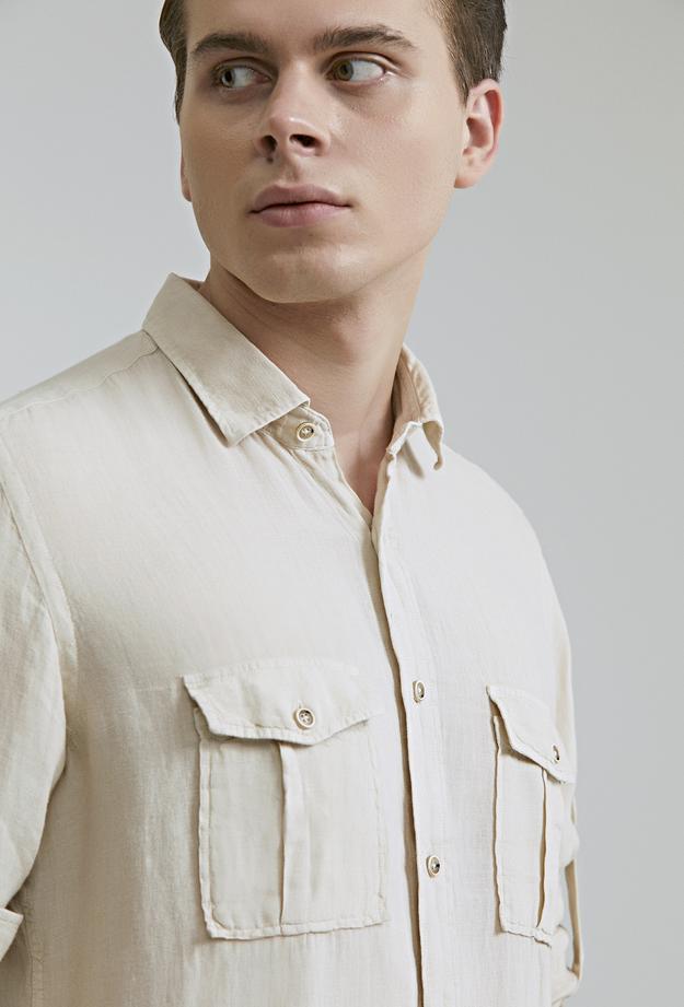 Ds Damat Regular Fit Bej Düz Keten Gömlek