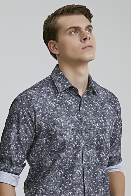 Ds Damat Slim Fit Gri Baskılı Gömlek - 8682060712929 | D'S Damat