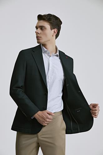 Ds Damat Slim Fit Yeşil Düz Kumaş Ceket - 8682060801487 | D'S Damat