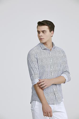Twn Slim Fit Beyaz Baskılı Gömlek - 8682060802712 | D'S Damat