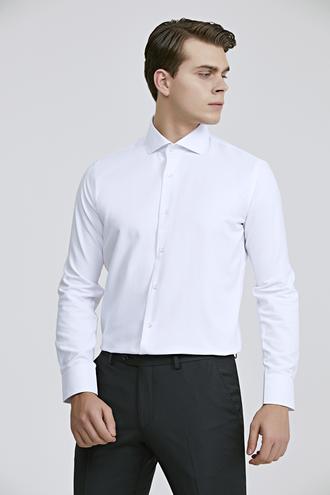 Ds Damat Slim Fit Beyaz Armürlü Gömlek - 8682060803504   D'S Damat