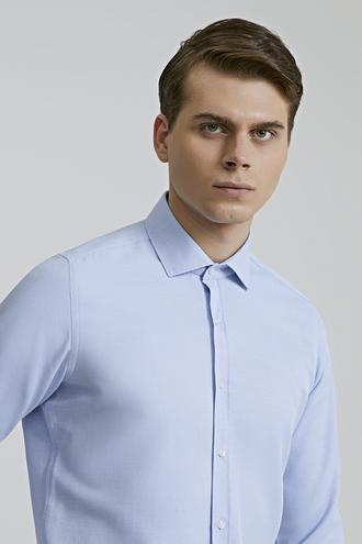 Twn Slim Fit Mavi Armürlü Gömlek - 8682445094220 | D'S Damat