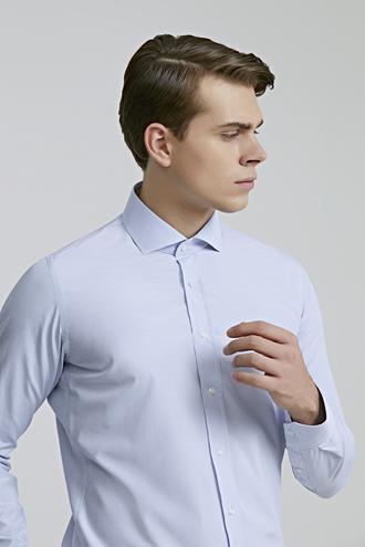 Ds Damat Slim Fit Mavi Pötikare Gömlek - 8682060895622 | D'S Damat