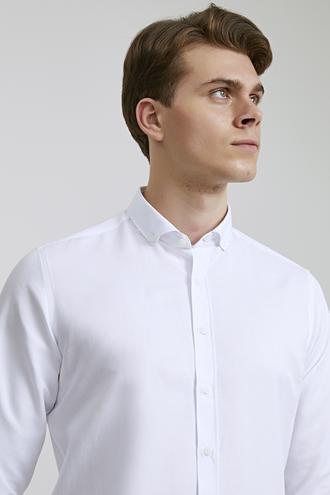 Slim Fit Beyaz Oxford - 8682060835499   D'S Damat