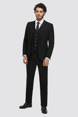 Twn Slim Fit Siyah Armürlü Yelekli Takım Elbise - 8682060879240 | D'S Damat