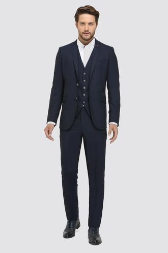Twn Slim Fit Lacivert Armürlü Yelekli Takım Elbise - 8682060879349 | D'S Damat
