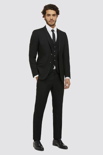 Twn Slim Fit Siyah Armürlü Yelekli Takım Elbise - 8682060879486 | D'S Damat