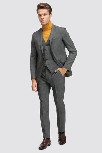 Twn Slim Fit Antrasit Kareli Yelekli Takım Elbise - 8682060879936 | D'S Damat