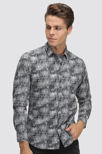 Twn Slim Fit Siyah Baskılı Gömlek - 8682060836038 | D'S Damat