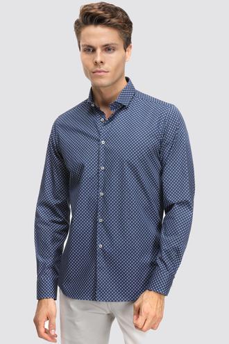 Twn Slim Fit Lacivert Baskılı Gömlek - 8682060841841   D'S Damat