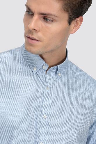 Twn Slim Fit Mavi Baskılı Gömlek - 8682060842947 | D'S Damat