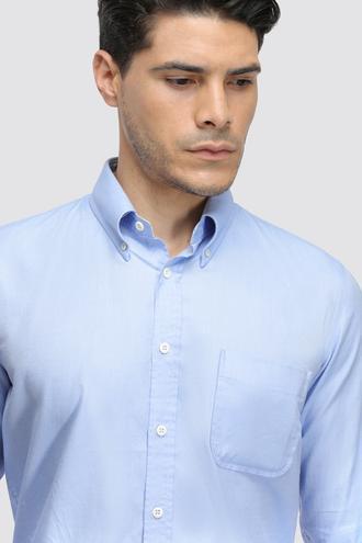 Ds Damat Slim Fit Mavi Armürlü Gömlek - 8682060881731 | D'S Damat