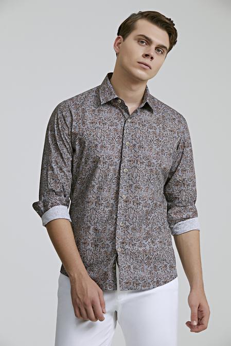 Ds Damat Slim Fit Karma Renk Baskılı Gömlek - 8682060710604 | D'S Damat