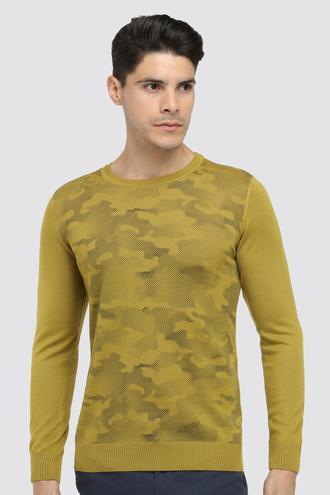 Ds Damat Slim Fit Olıve Yeşili Baskılı Kazak - 8682060034267 | D'S Damat