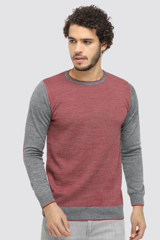 Ds Damat Slim Fit Kırmızı Desenli Kazak - 8681779524328 | D'S Damat