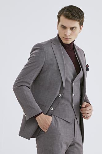 Ds Damat Slim Fit Slim Fit Kırmızı Yelekli Takım Elbise - 8681778949795 | D'S Damat