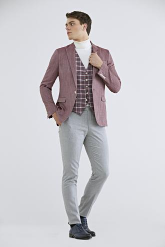 Twn Slim Fit Kırmızı Armürlü Kombinli Takım Elbise - 8682445020281 | D'S Damat