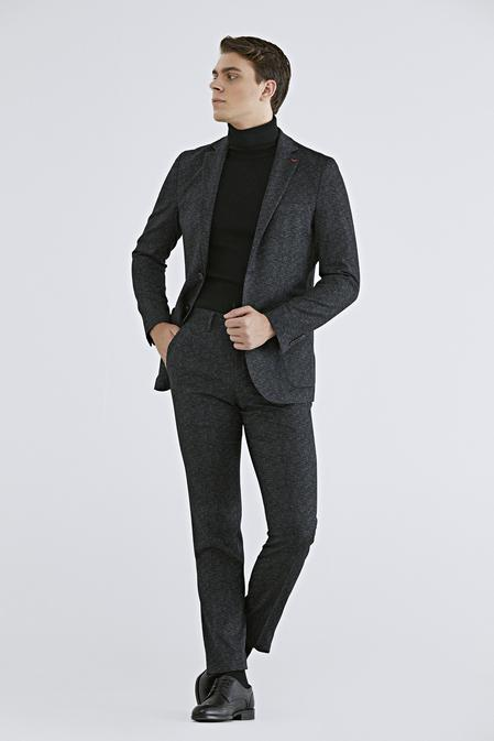 Ds Damat Slim Fit Siyah Baskılı Sihirli Takım Elbise - 8682445306347 | D'S Damat