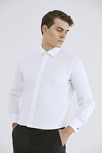 Ds Damat Slim Fit Beyaz Düz Nano Care Gömlek - 8682445045482 | D'S Damat